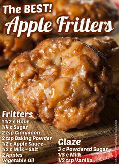 Easy Apple Fritters Recipe, Apple Fritter Recipes, Apple Fritter Bread, Apple Dessert Recipes, Donut Recipes, Delicious Desserts, Cooking Recipes, Yummy Food, Recipe Doughnuts