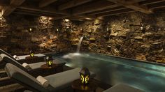 Perhaps the most significant feature at the Bachelor Gulch Spa at The Ritz-Carlton is this co-ed rock-lined grotto with a soothing waterfall.
