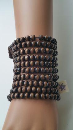 Beaded Party Wrist purse Clubbing Wooden beads Wrist wallet Rustic Cuff Boho Bracelet