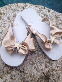 Bridal Flip Flops/Wedges/Sandals.Bridesmaids.White by RocktheFlops, $39.00