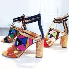 Cork heels with a mod-twist via @peterpilotto