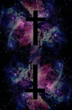 Pastel goth wallpaper. Galaxy background and two black crosses