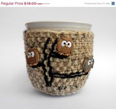 CIJ 15 Off Owl Coffee Cozy or Owl Tea Cozy by stinkRknits on Etsy, $15.30
