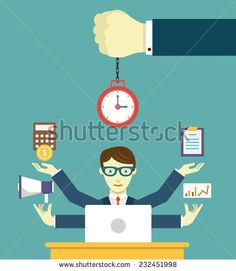 Time management - pledge of success. Business planning and results - vector illustration - stock vector