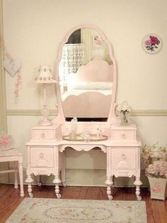 Vanity with Mirror White Vintage Shabby Chic Furniture