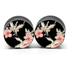 Dark Floral Ear Gauges - I do need new ones :) Ear Jewelry, Cute Jewelry, Body Jewelry, Jewelery, Jewelry Accessories, Bullet Jewelry, Jewelry Necklaces, Body Piercings, Piercing Tattoo