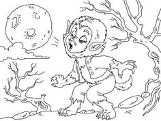 Cool werewolf kid howling at the moon. Color him in for Halloween. Halloween Coloring Pictures, Free Halloween Coloring Pages, Coloring Pages For Kids, Werewolf, Howl At The Moon, Halloween 2016, Printables, Prints