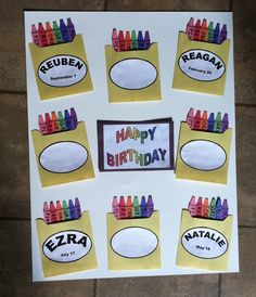 back to school birthday bulletin board Crayon Themed Classroom, Classroom Birthday, Birthday Wall, Toddler Classroom, Preschool Classroom, Classroom Themes, Preschool Activities, Kindergarten, Preschool Birthday Board