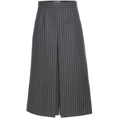 Saint Laurent Pinstriped Wool Culottes featuring polyvore, women's fashion, clothing, pants, capris, bottoms, pantaloni, skirts, grey, grey trousers, wool trousers, gray pants, gray pinstripe pants and yves saint laurent