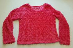 Faded Glory Pink Fuzzy Long Sleeve Top Size L 10/12 #380 in Clothing, Shoes & Accessories, Kids' Clothing, Shoes & Accs, Girls' Clothing (Sizes 4 & Up)   eBay