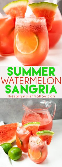 Easy Summer Watermelon Sangria is the ultimate refreshing summer cocktail!  Sangria made easy with white wine, vodka, lime juice, and sugar, packed full of delicious watermelon flavor! #watermelon #thesaltymarshmallow #sangria #whitesangria #summersangria #sangriarecipes