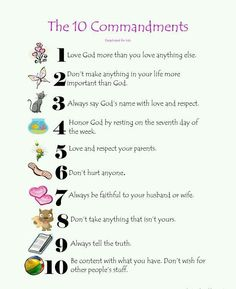 The Ten Commandments - for young children