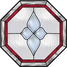 Octagon Stained Glass Window With Red Inner Border and Center Bevel Cluster