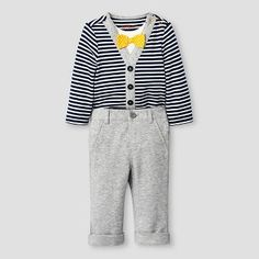 ccc33ceed Baby Boys' Little Man Bowtie Striped Bodysuit and Pant Set Baby Cat &  Jack