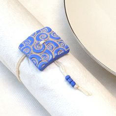 Napkin Ring  Set of 6 Ceramic Blue Button Napkin by StudioDhouse, $39.00