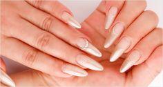 Bridal Nail . champagne tips . Almond