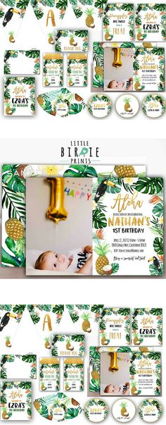 """TROPICAL Birthday party invitation Pineapple birthday party invitation and printable pack Tropical first birthday printables Banner  Includes:  Invitation Water Bottle Labels Favor tags Cupcake Toppers Door Sign """"Welcome to Name's Party"""" Sign """"Party like a pineapple"""" Sign """"Pineapples are sweet, take a treat"""" Happy Birthday Name Banner Tropical banner piece pineapple Tropical banner piece toucan Buffet Cards Party Hats Fold over thank you's 4x6 size.  Affiliate Product"""
