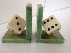"""Mid Century, Vintage Italian Marble Pair of """"Dice"""" Bookends by FLORIDAMODERN33405 on Etsy https://www.etsy.com/listing/224188830/mid-century-vintage-italian-marble-pair"""