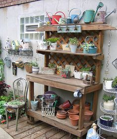 potting bench | This potting area reminds me a lot of my mom for some reason. It is ...