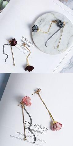 2017 Fashion Korean Elegant Cloth Art Flower Long Earrings Rhinestone  boucle d oreille femme pendante  diamondearrings e2a11ad5bc70
