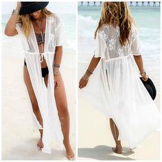 White Split Draw String Long Beach Cover Up Dress