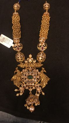 Gold Balls Haram with Peacock Pacchi Pendant - Indian Jewellery Designs Kids Gold Jewellery, Gold Temple Jewellery, Indian Jewellery Design, India Jewelry, Gold Jewelry, Jewelery, Jewelry Design, Handmade Jewellery, Jewelry Shop