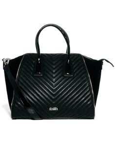 Faith   Faith Zip Zag Quilted Winged Tote Bag at ASOS