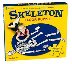 Kids Learn All The Major Bones - Skeleton Floor Puzzle by Learning Resources. $51.57. Kids learn all the major bones. Puzzle pieces labeled on reverse side. Large 15-piece puzzle. Unique, soft foam puzzle. Life-size for kids. Skeleton Floor PuzzleKids learn all the major bones as they assemble this unique, soft foam puzzle. Great for playtime, this large 15-piece puzzle is 4' tall when assembled, making it life-size for kids. Once assembly is complete, have children lie on ...