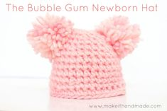 Crochet a newborn hat in just 12 rows! Free pattern and tutorial for the Bubble Gum Hat by Make It Handmade. Newborn Hats, Free Baby Stuff, Bubble Gum, Newborn Crochet Hat Girl, Easy Crochet Baby Hat, Kids Crochet, Newborn Crochet Patterns, Crochet Baby Hats Free Pattern, Crochet Ideas
