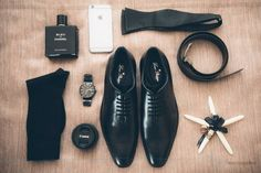 Accessories goals: Louis Phillipe shoes, black bow-tie, watch and Chanel perfume for the groom.