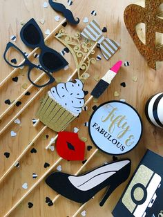 Fifty & Fabulous Birthday Photo Booth Props by CMCraftStudio
