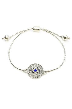 Silver hamsa necklace blue evil eye necklace 925 sterling silver evil eye bracelet is adjustable with rope extenders made on a rhodium chain and with cubic zirconia stones layer it with other bracelets or wear on its mozeypictures Images