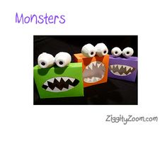 Cute and easy Halloween DIY craft out of recycled boxes- we love Monsters! #halloween #diycrafts