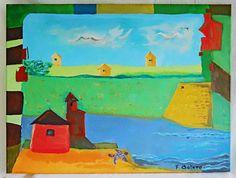 Cubist Houses Painting Folk Naive Primitive Vintage Bright Ocean Turtle F Botero Cubist Paintings, Original Paintings, Ocean Turtle, Pictures For Sale, Oil Painting Pictures, Primitive Folk Art, House Painting, Flower Art, Primary Colors