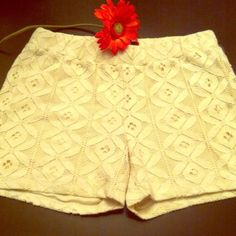 HP 4/30/16 Girly Cream Crochet Shorts Weekend Wardrobe Theme Party HP 4/30/16. NWOT! So Girly! Delicate Cream Crochet Design over a solid lining. Elasticized Waist. 65% Cotton/35% Nylon. Brand New! Excellent Condition. No Trades. One 5 One Shorts