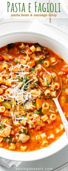 Pasta e Fagioli is a deliciously hearty, stew-like soup loaded with pasta, beans and Italian sausage. Every bite is rich with flavor and plenty of vegetables. # pasta fagioli Pasta e Fagioli Soup Recipe Pasta Fagioli Recipe, Pasta Soup, Bean And Sausage Soup, Italian Sausage Soup, Italian Stew, Italian Vegetable Soup, Bean Soup, Italian Soup Recipes, Hearty Soup Recipes