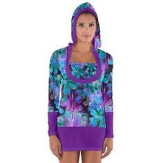 Blue on Purple Vintage Flowers. Blue on Purple Vintage Flowers Women's Long Sleeve Hooded T-shirt. Tackle winter in style with this fully customizable long sleeve t-shirt. Have your own unique designs printed on the front and back and all the way down to the sleeves and neckline. Alternate patterns, create quirky prints, go crazy with colors! Whatever you do, you can be sure that this top will be uniquely your own.   The front, back, sleeves and neckline can be fully customized to your…