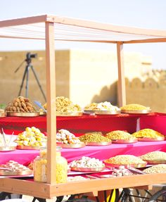 The theme for the mehendi was Indian Bazaar, and so we served street foods from India. This was the mithai, or sweets, cart that had thalis, or plates, of Indian desserts.