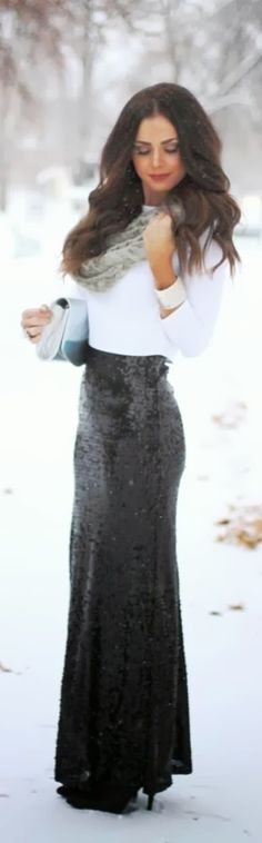 black maxi skrit white sweater purse with high heel