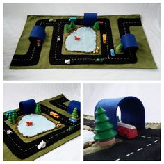 Road Trip Play Mat Felt Pretend Open-ended Make believe Small world car transportation Playscape tunnel lake travel large tree hand painted by MyBigWorld2015 on Etsy