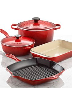 My cherry collection!!   Le Creuset Signature Enameled Cast Iron Cookware, 6 Piece Set - Le Creuset - Kitchen - Macy's Bridal and Wedding Registry