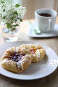 Danish pastry with blueberry cream cheese filling