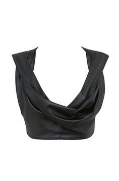 Amadea Black Vegan Leather Draped Top