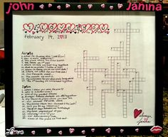 The perfect DIY Valentine's Day Gift for your boyfriend.....this took me one hour!    Find any free online Crossword Builder, paste that image into a word doc, print, & then decorate with your own stickers & designs! You can put it in a cute frame too!    I'd post the instructions on my blog, moreoatsplease.com, but I'm afraid my boyfriend will see it and I wanted to make sure I could share with you all!  You can email me if you want more detailed instructions!