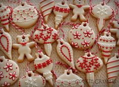 beige and red christmas ornaments | Cookie Connection
