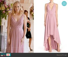 Monique Lhuillier Deep V-Neck Chiffon High/Low Gown worn by Candice Accola on The Vampire Diaries Fashion Tv, Urban Fashion, Fashion Outfits, Vampire Diaries Fashion, Looks Teen, High Low Gown, Pretty Little Liars Fashion, Tv Show Outfits, Neutral Outfit