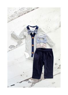 734548e8f5389 Baby Boy Newborn Coming Home Outfit Set of up to 3 Items. Cardigan  Bodysuit, Bow Tie Bodysuit, & Pants. 1st Birthday, Christmas Holiday