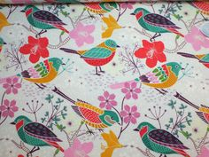 Stoff Vögel - Jersey BLUMEN UND VÖGEL - ein Designerstück von marlindas_stoffhaeuschen bei DaWanda