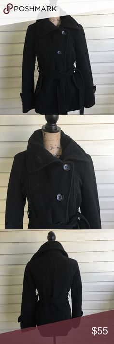 Worthington Black Peacoat In excellent condition! Black Peacoat in size small. I'm a speedy shipper and we have a smoke free home! Measurements upon request. I'm always open to reasonable offers. Worthington Jackets & Coats Pea Coats