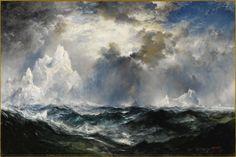 THOMAS MORAN (American 1837 - 1926) Moonlight, Icebergs in Mid Atlantic, 1910